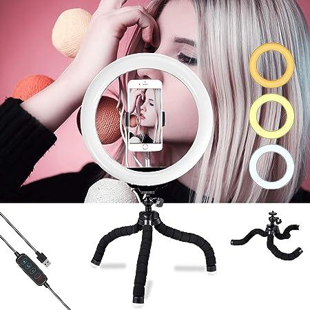"""10/"""" 7w LED RING luz regulable anillo lámpara lámpara de anillo con trípode para Live maquillaje"""
