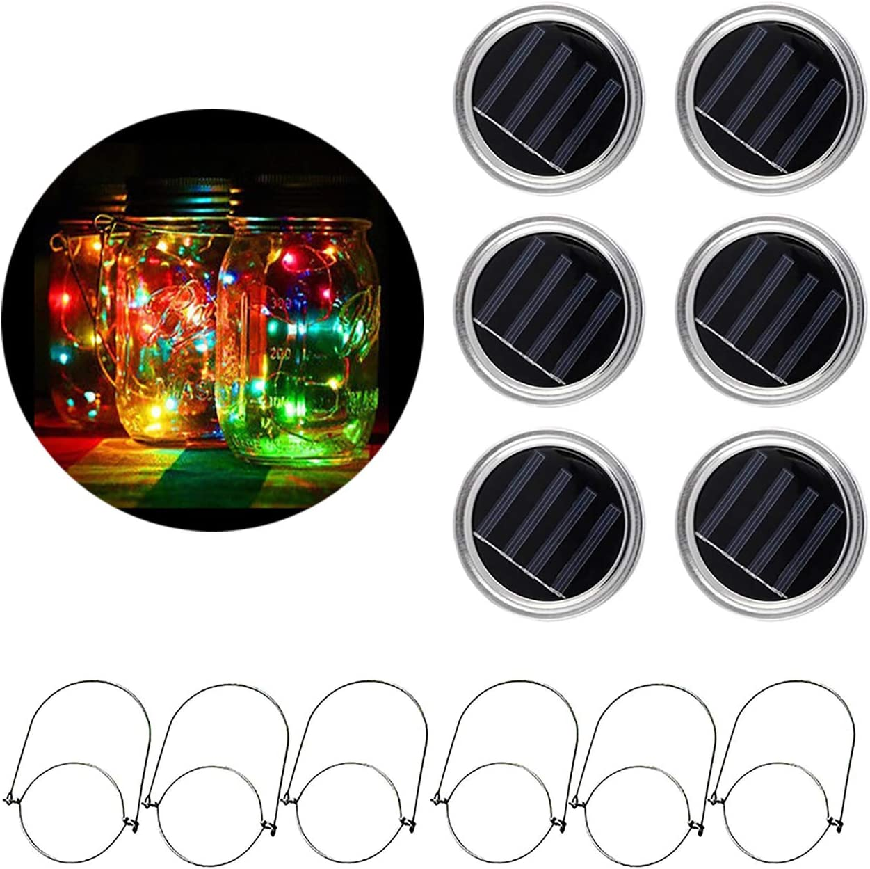 6 Pack MTZRFLL Solar Powered Mason Jar Lids Lights,20 LEDs Fairy Portable Lanterns,6 Stainless Steel Hangers Jars NOT Included ,for Patio,Garden,Christmas,Wedding Multi-Colored