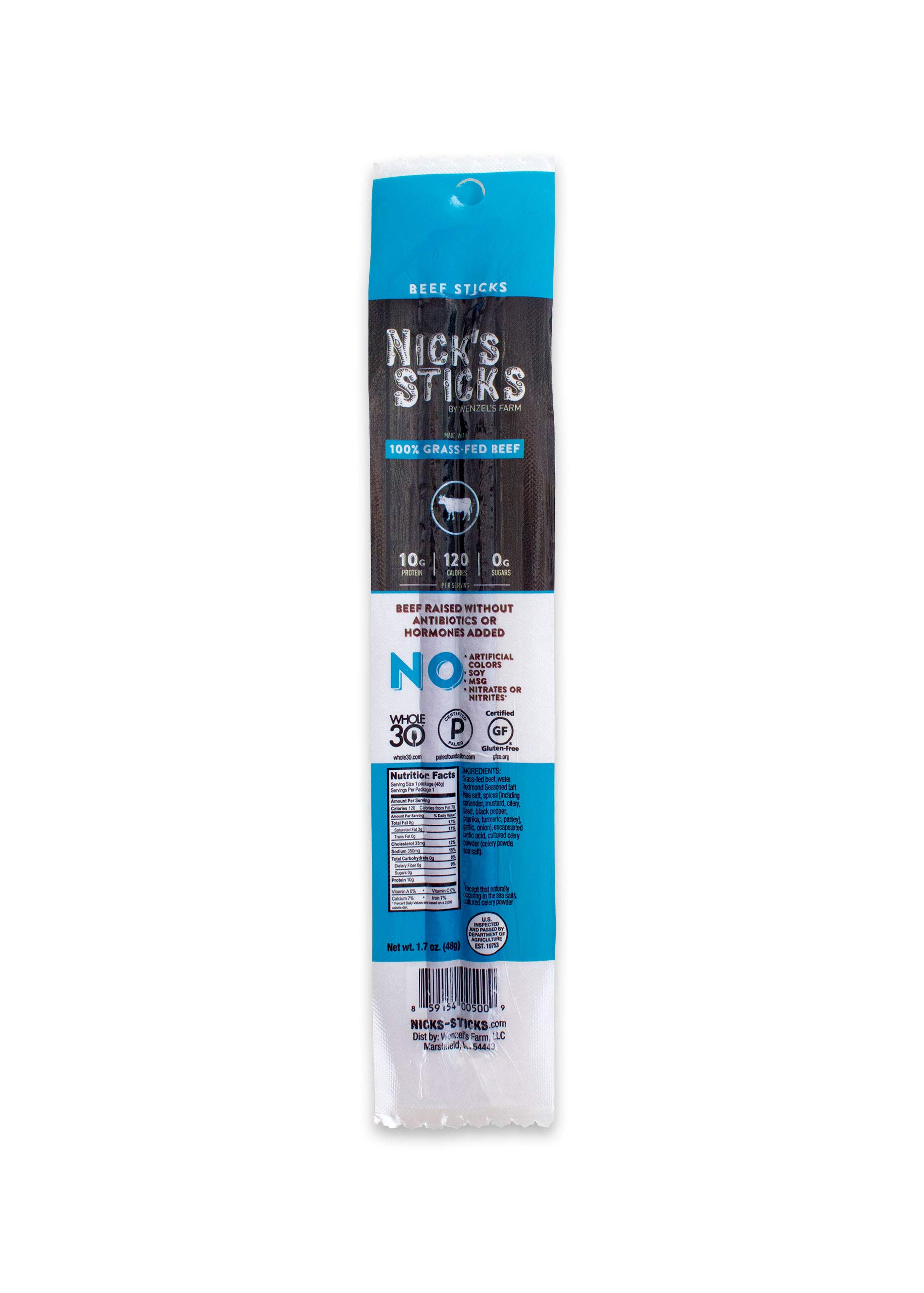 Nick's Sticks 100% Grass-Fed Beef Snack Sticks - Gluten Free - Paleo, Keto, Whole30 Approved - No Sugar, Soy, Antibiotics or Hormones (25 - 1.7oz. Packages of 2 Sticks) by Nick's Sticks (Image #4)