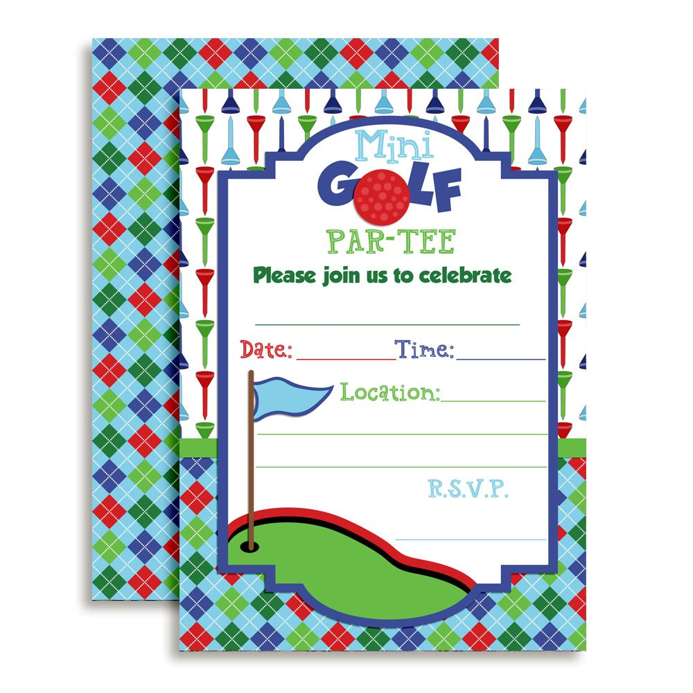 Amanda Creation Mini Golf Putt Putt Birthday Party Fill in Style Invitations for Boys. Set of 20 Including envelopes