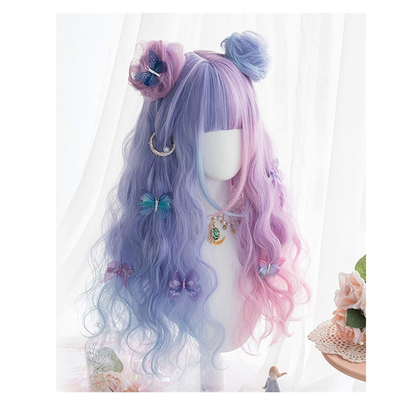 NDMUS Lolita Wig Llolita 65CM Long Curly Purple Mixed Blue Ombre Bangs with Buns Headband Cute Ladies Cosplay Wig (Color : Wig Buns, Stretched Length : 24inches)
