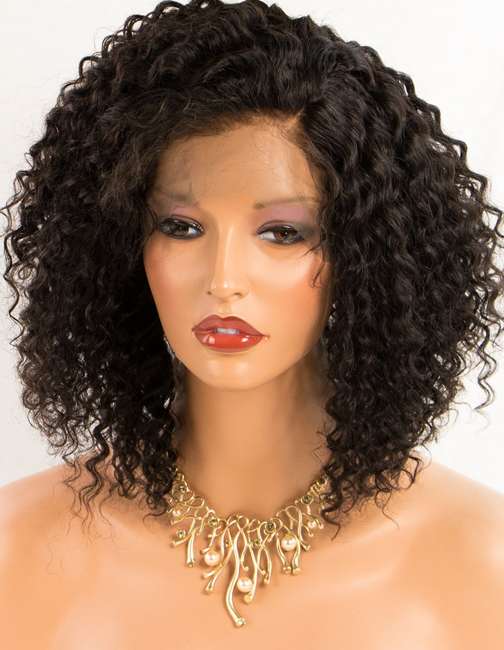 Persephone Kinky Curly Human Hair Lace Front Wigs Brazilian Remy Lace Wigs Human Hair for Black Women 150 Density 16 Inches Natural Color