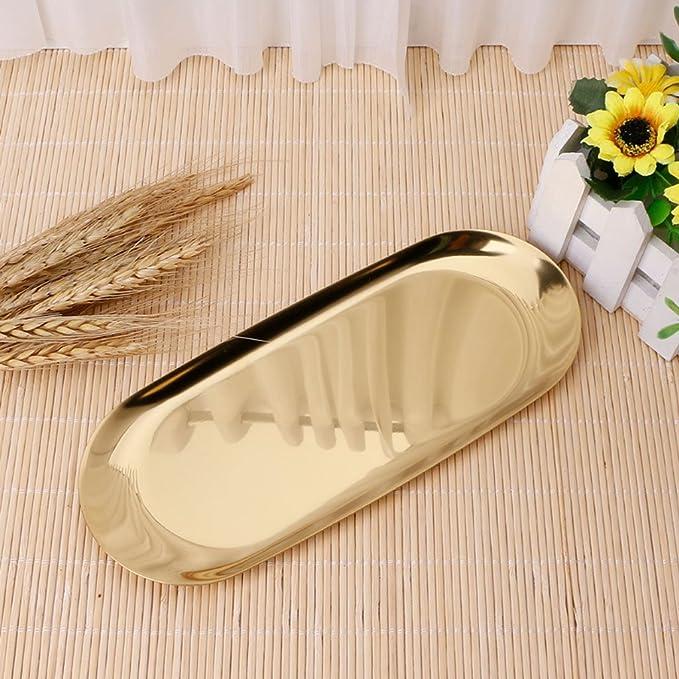 L Homyl Gold-Edelstahl-Oval-Behälter-/Tee-Imbiss-Behälter-/Schmuck-Speicher-Anzeigen-Behälter Multifunktions-