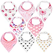 KiddyStar Bandana Baby Drool Bibs for Girls, 8-Pack Bib Set for Drooling and Teething, Organic Cotton, Soft and Absorbent, Baby Shower Gift for Newborn Babies and Toddlers