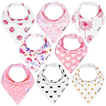 d9ac17f2072e Amazon.com   KiddyStar Bandana Baby Drool Bibs for Girls