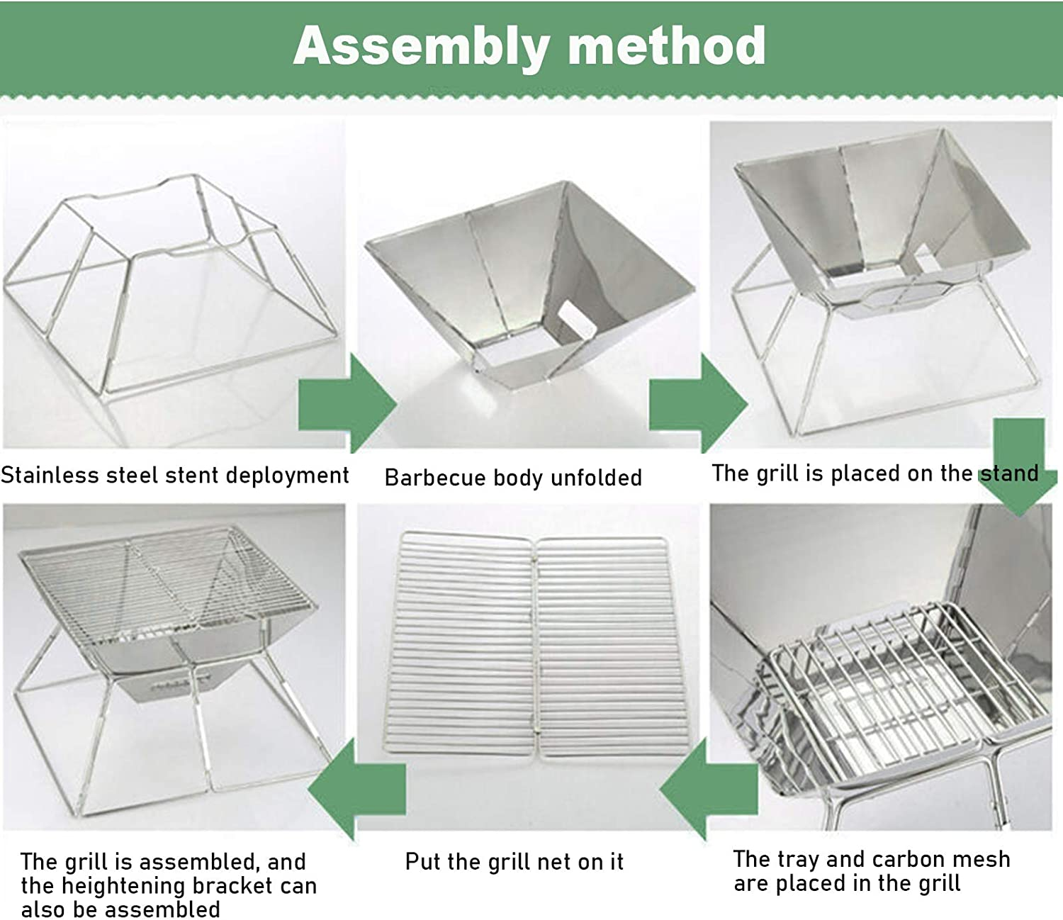 Folding Campfire Grill,Portable Camping Grill,Folding Compact Premium Stainless Steel Barbeque Grill with Lifting Net and Carrying Bag,for Outside Picnic Home BBQ