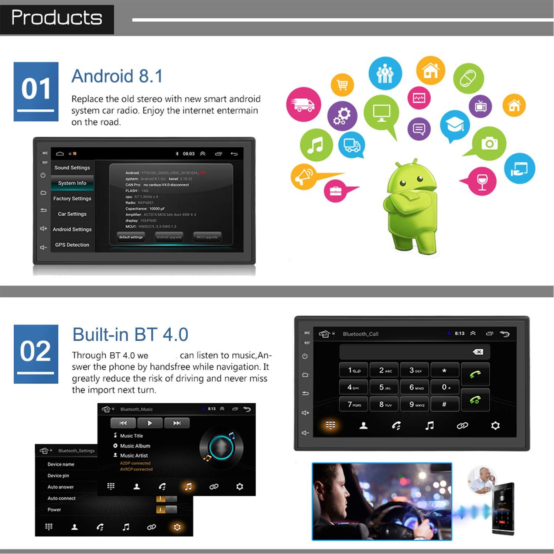 KKXXX S6 Android 8.1 2 DIN Car Stereo 1 GB de RAM 16 GB ROM Quad Core GPS de navegación Radio Auto Am/FM Mirror Link Control de Volante BT Manos Libres Call ...
