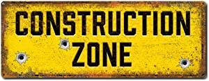 Construction Zone, 6 x 16 Inch Funny Metal Sign for Home, Garage, Man Cave and Boy's Room Wall Decor, Gifts for Construction and Demolition Workers, Builders, Architects, Kids and Dads, RK3043 6x16