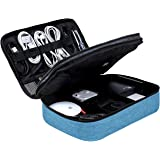 BAGSMART Extra Large Double Layer Portable Travel Cable Organiser Bag Electronics Accessories Storage Case for 10.5'' iPad Pro, Charger, Adaptors, Hard Drives or Nintendo Switch (Lake Blue)