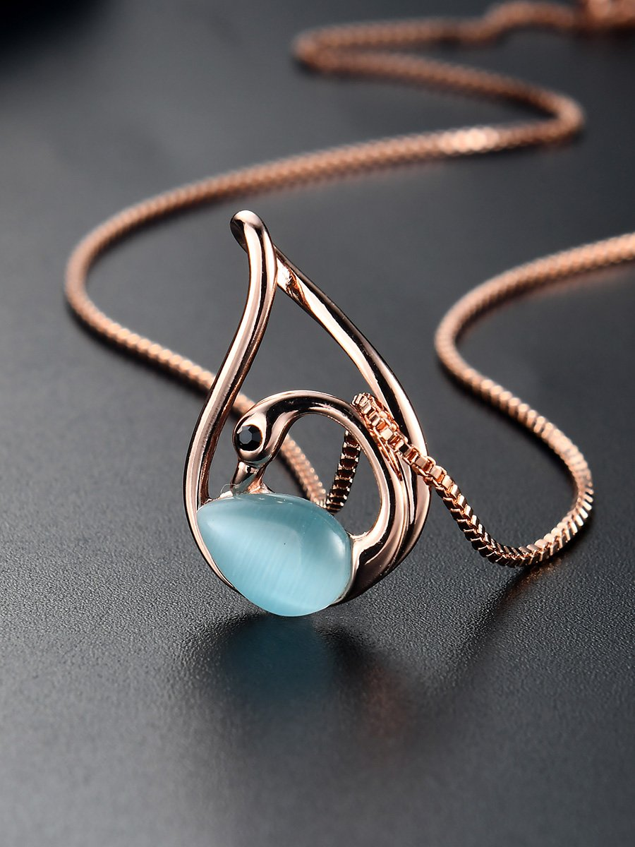 FANCYGIRL the Best Gift For Womens Blue Swan Pendant Earrings and Necklace Jewelry Sets