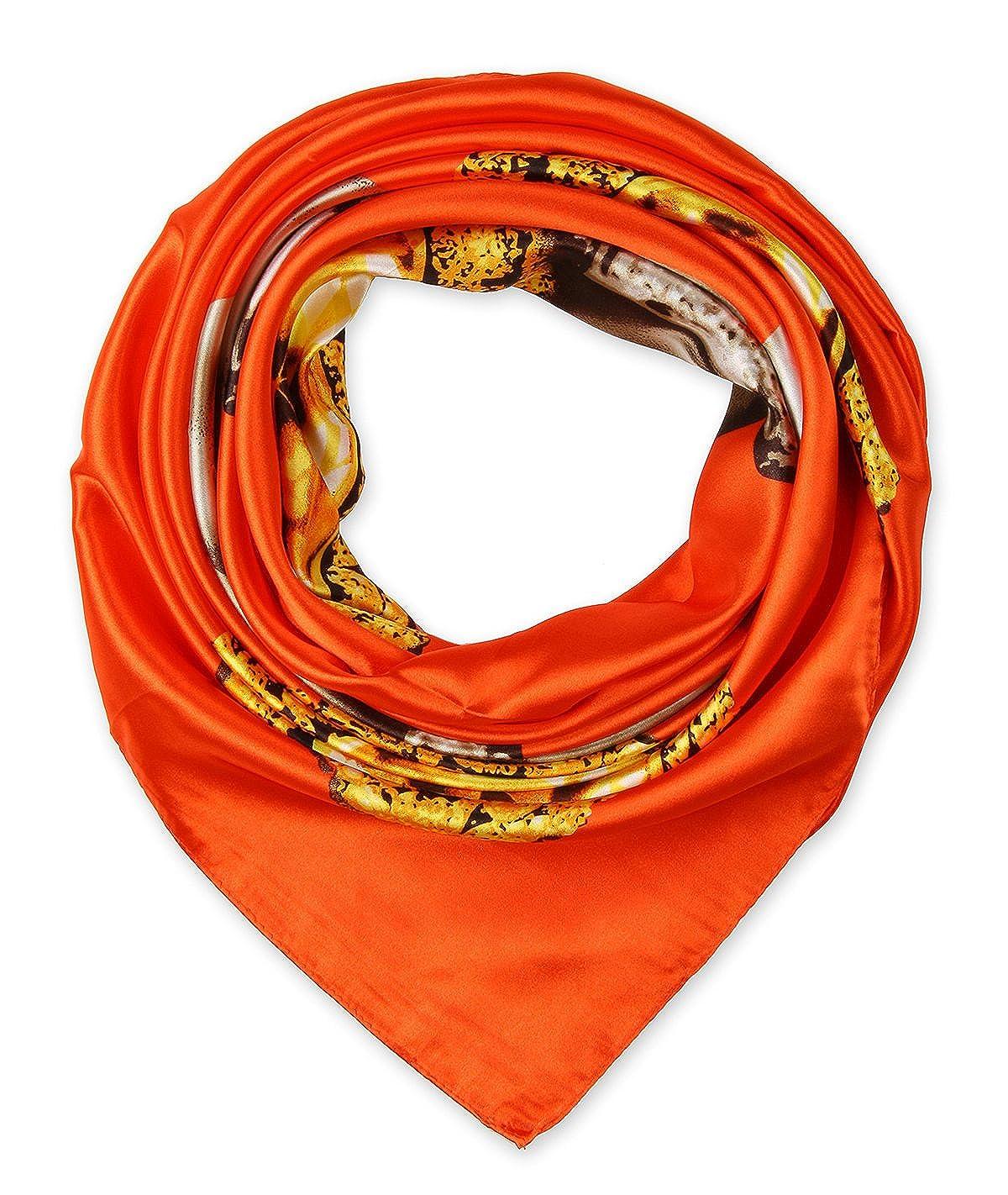 corciova élégant femme Carré Large Cheveux Sensation Satin en soie écharpe  foulard 88,9 x 88,9 cm - orange - Taille Unique  Amazon.fr  Vêtements et ... be0be011679