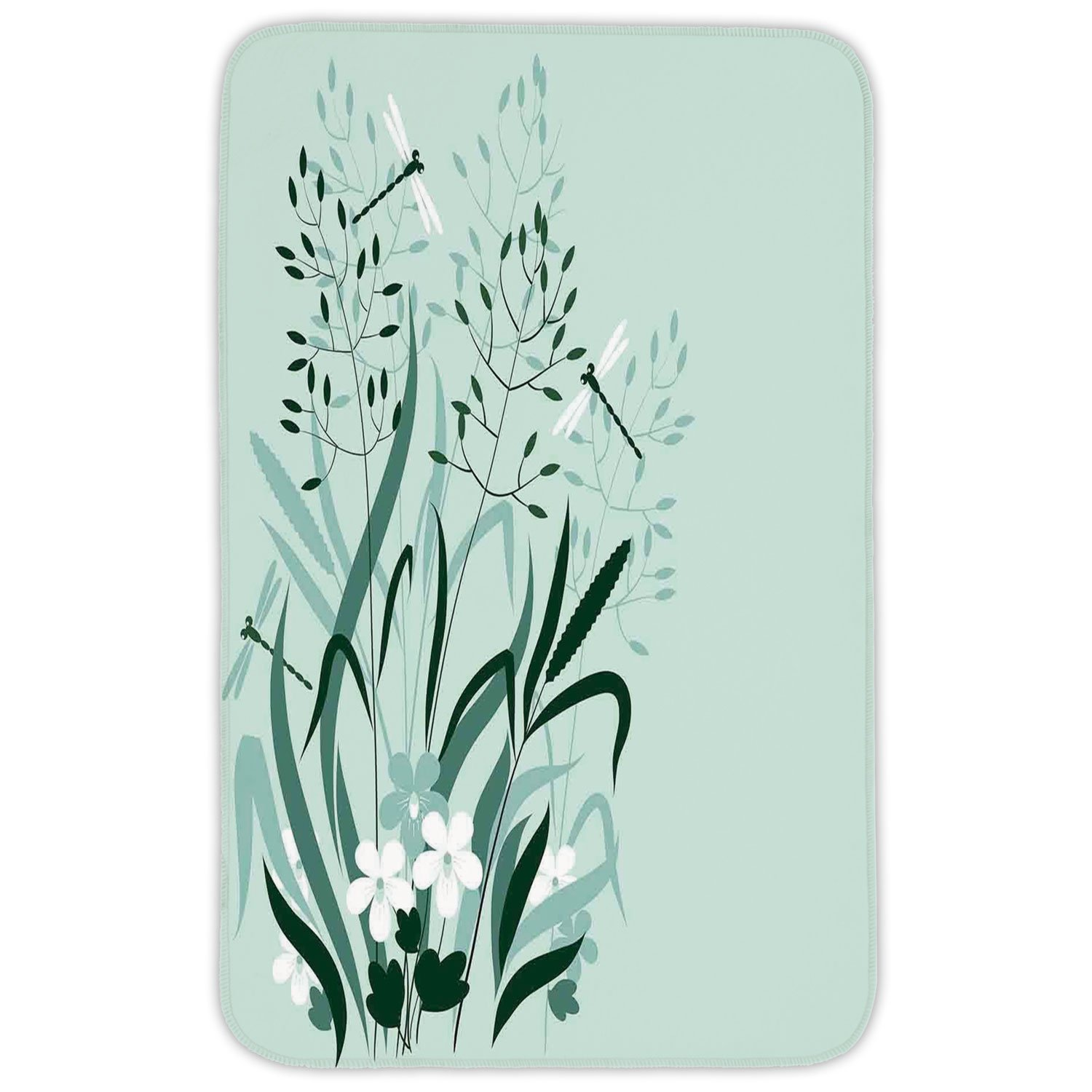 Rectangular Area Rug Mat Rug,Dragonfly,Wild Grass and Dragonflies in Exquisitely Growing Lawn Herb Bush Rural Pattern,Light Green,Home Decor Mat with Non Slip Backing