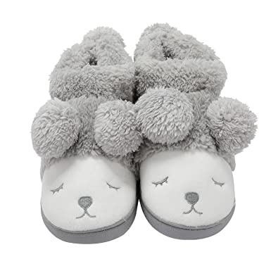 c1c0a4e8bf6 GaraTia Warm Indoor Slippers for Women Fleece Plush Bedroom Winter Boots  Grey High Top 4-