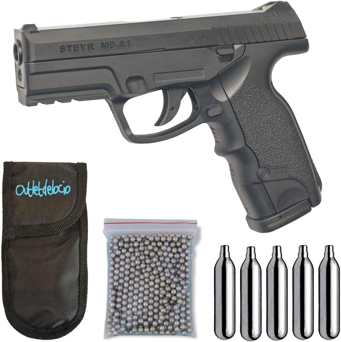 Outletdelocio. Pack Pistola Perdigón ASG16088. Steyr M9-A1. 3,3 Julios. Co2. Calibre 4,5mm BBS. + Funda Portabombonas + Balines + Bombonas co2