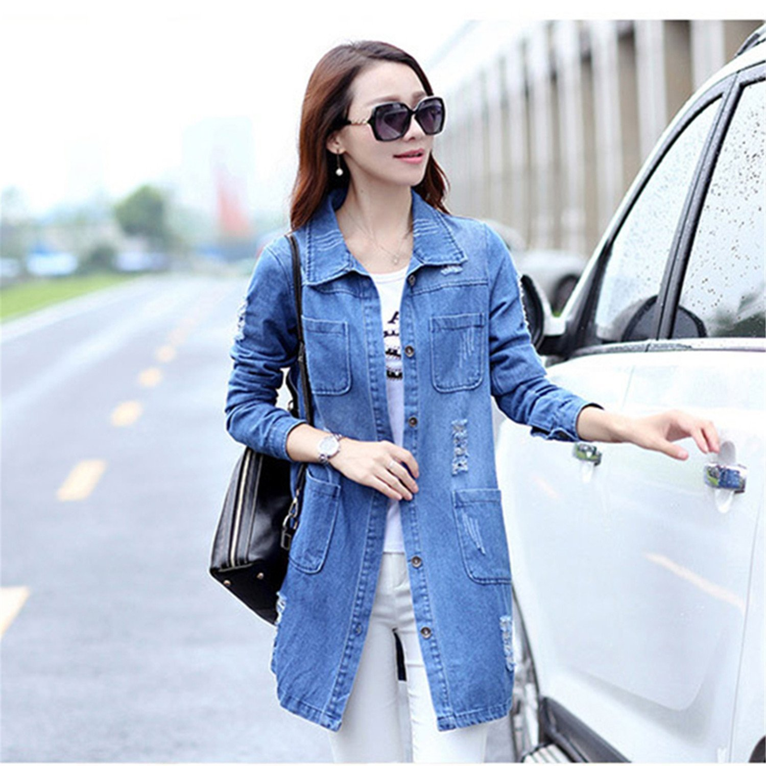 c077a1a069 B dressy Plus Size 5XL Denim Jacket Women Fashion Long Sleeve Jeans Coat  Female Casual Ripped Denim Jacket Tops at Amazon Women s Coats Shop