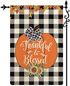 Coskaka Thankful & Blessed Garden Flag Maple Leaf Pumpkin Vertical Double Sided Black White Buffalo Check Plaid Rustic Farmland Burlap Yard Lawn Outdoor Decor 12.5x18 Inch