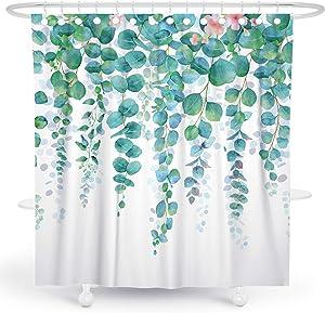 DESIHOM Green Plant Shower Curtain Botanical Leaf Shower Curtain Floral Garden Shower Curtain Tropical Shower Curtain Succulent Shower Curtain Summer Flower Polyester Waterproof Shower Curtain 72x72