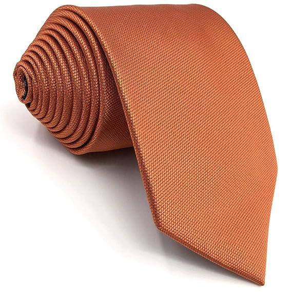 Shlax&Wing Hombre Seda Corbatas Para Boda Naranja Color Sólido ...
