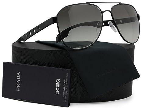 31c4c34bece0 Amazon.com: Prada SPR51R Aviator Sunglasses Matte Black w/Grey Gradient  (1BO-0A7) PR 51RS 1BO0A7 60mm Authentic: Clothing