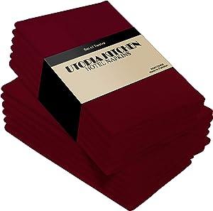 Utopia Kitchen Cloth Napkins 18 by 18 Inches, 12 Pack Burgundy Dinner Napkins, Cotton Blend Soft Durable Napkins