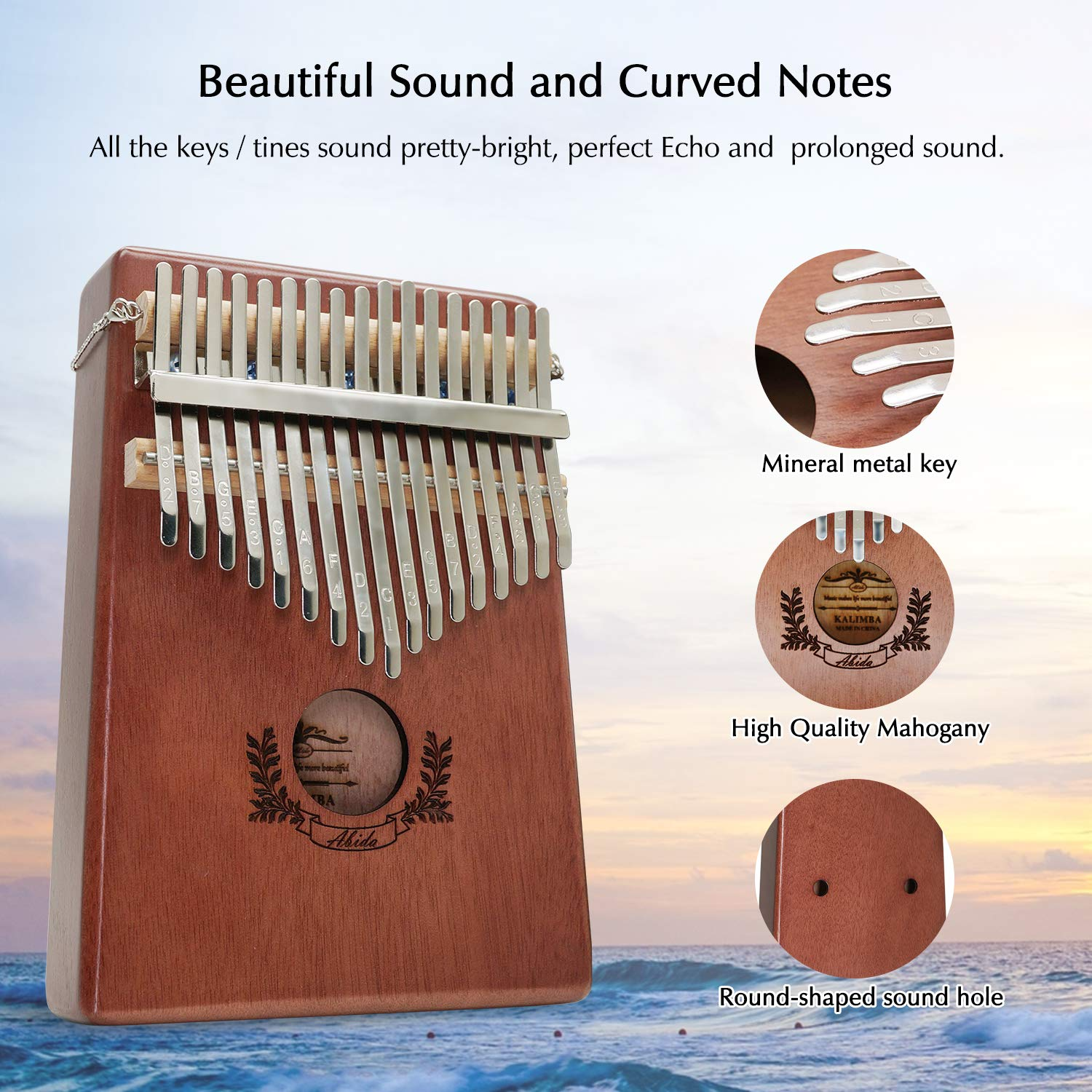Kalimba, Abida Exquisite 17 Keys Thumb Piano with EVA Waterproof Case Study Instruction Tuning Hammer, Solid Finger Piano Mahogany Body Portable Musical Instrument Gifts for Kids and Adult Beginners by Abida (Image #3)