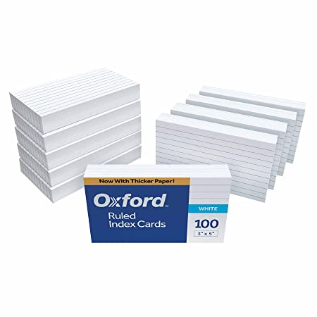 """Oxford Ruled Index Cards, 3"""" X 5"""", White, 1,000 Cards (10 Packs Of 100) (31) by Oxford"""