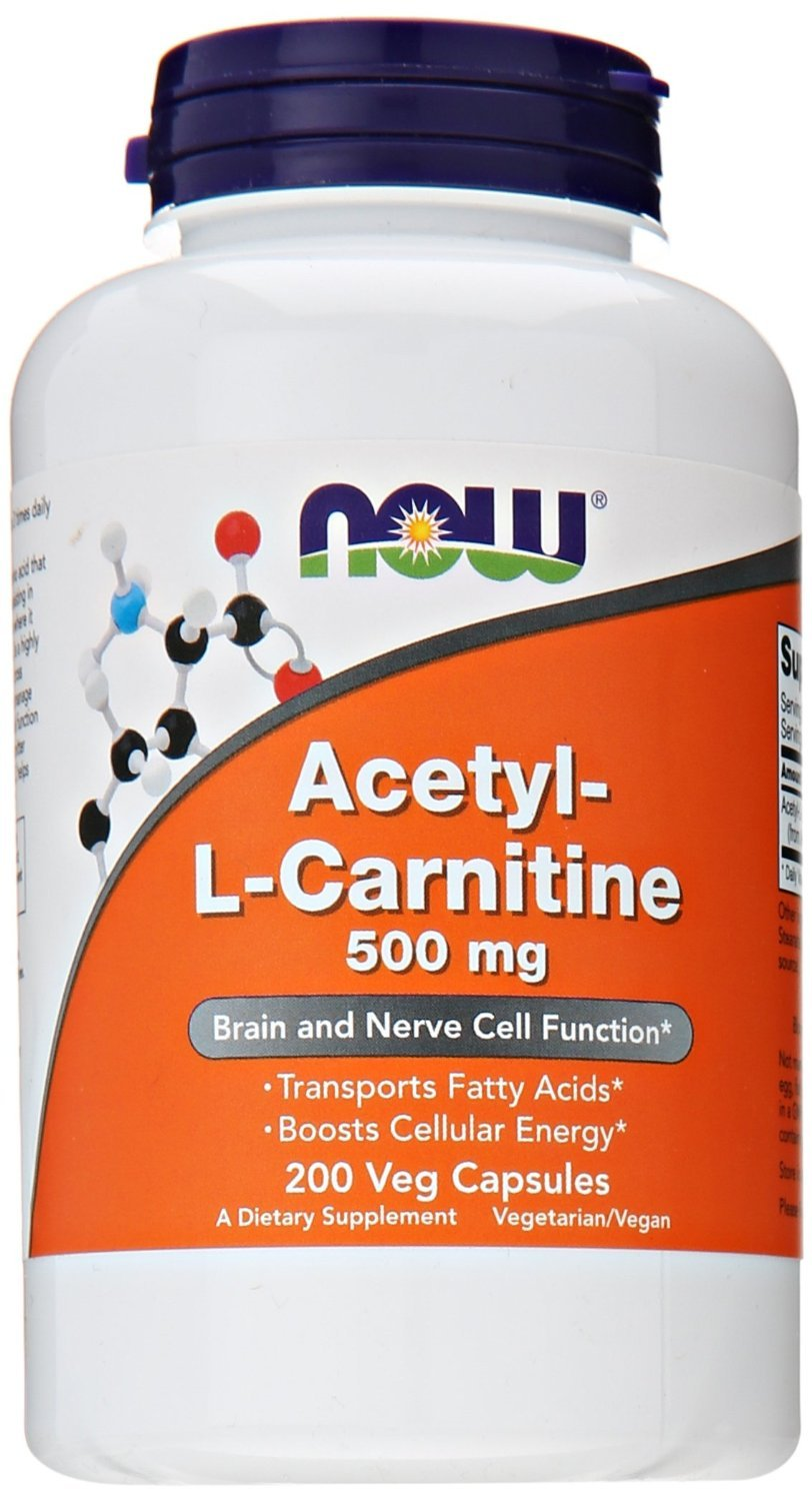 NOW Acetyl L-Carnitine 500mg, 200 Veg Capsules