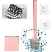 Siliconen toiletborstelset, toiletborstel, siliconen toiletborstel, met houder snel drogende wc-garnituur (roze)