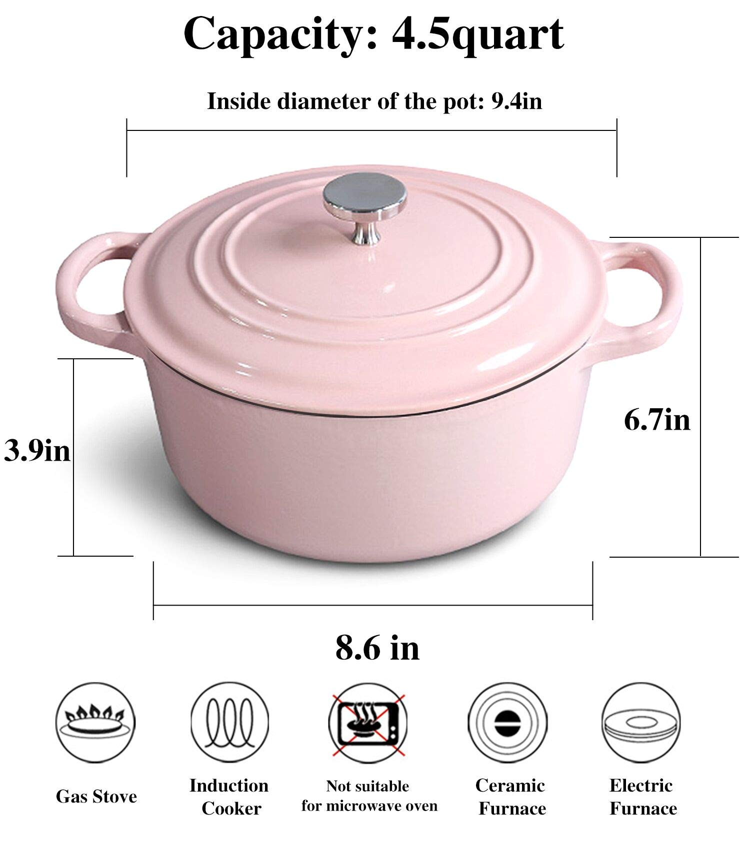 M-cooker 4.5 Quart Enameled Cast Iron Pot with Self Basting Lid,Classic Mint Blue Enamel Dutch Oven (Pink) by ClearSea (Image #6)