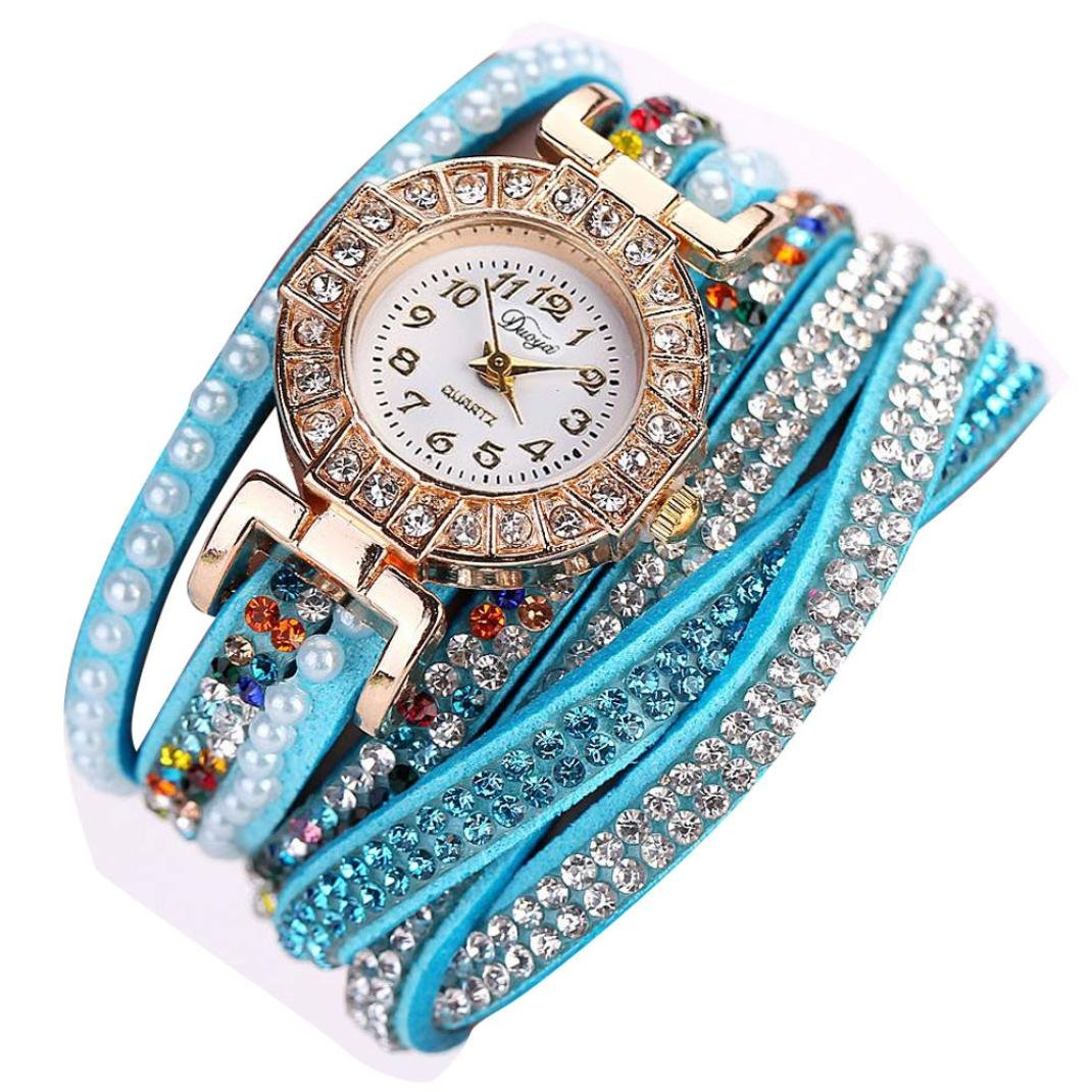 Blue Hunputa Ladies Watch Women Pearl Scale Bracelet Quartz Wristwatch Crystal Diamond Clock Women Dress Watch