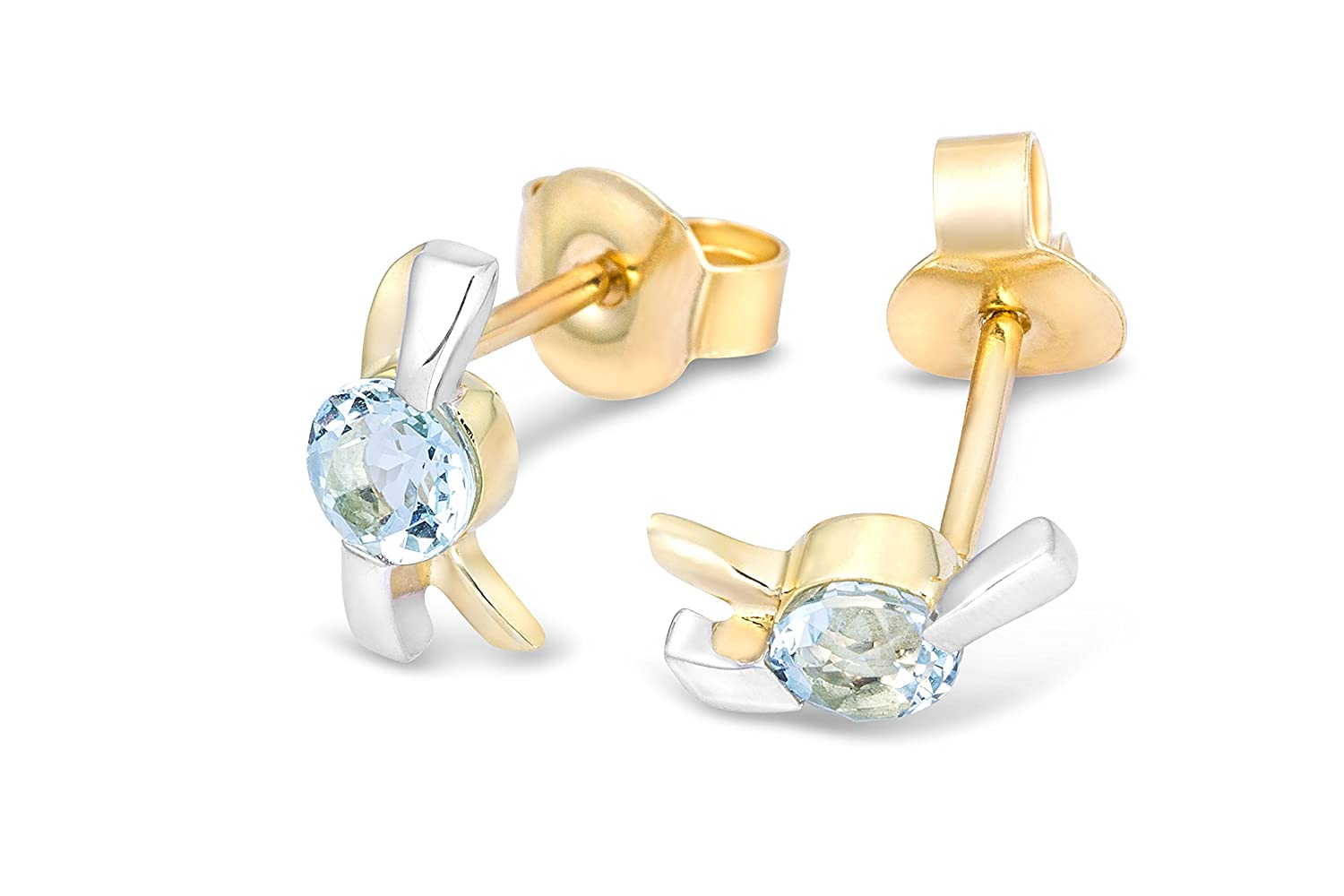 Miore 9ct Two Colour Gold Blue Topaz Stud Earrings MH9060E WYEHGTsSN