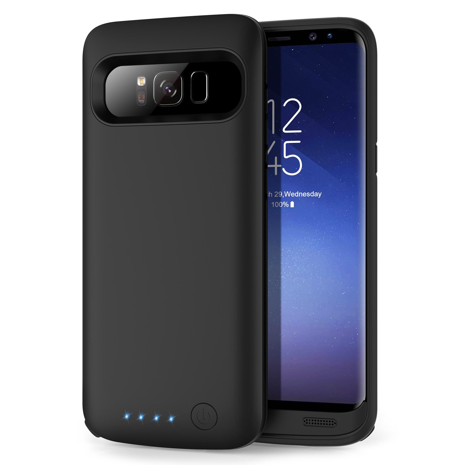 Galaxy S8 Battery case 6000mAh, HETP Protective Rechargeable External Battery Pack for Samsung Galaxy S8 Charging Case Portable Backup Power Bank for Galaxy S8 (5.8 inch) -Black by HETP