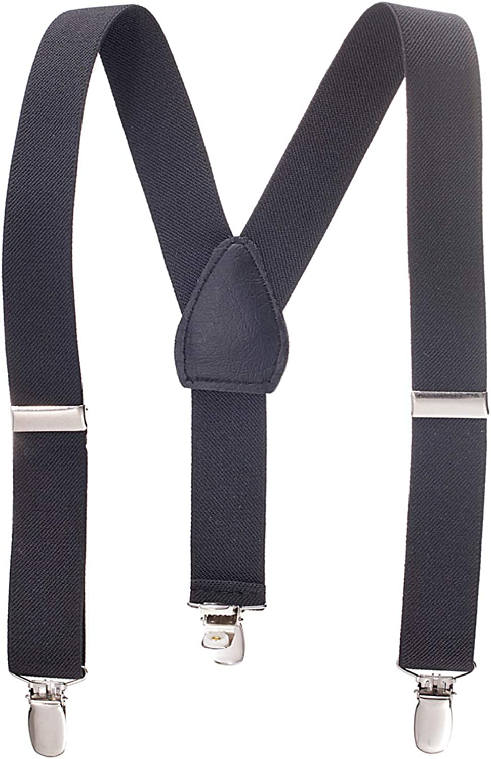 7 Months - 3 Years Sturdy Metal Clips Genuine Leather Suspender Black, 24 inches Children Boys Kids Adults Suspenders