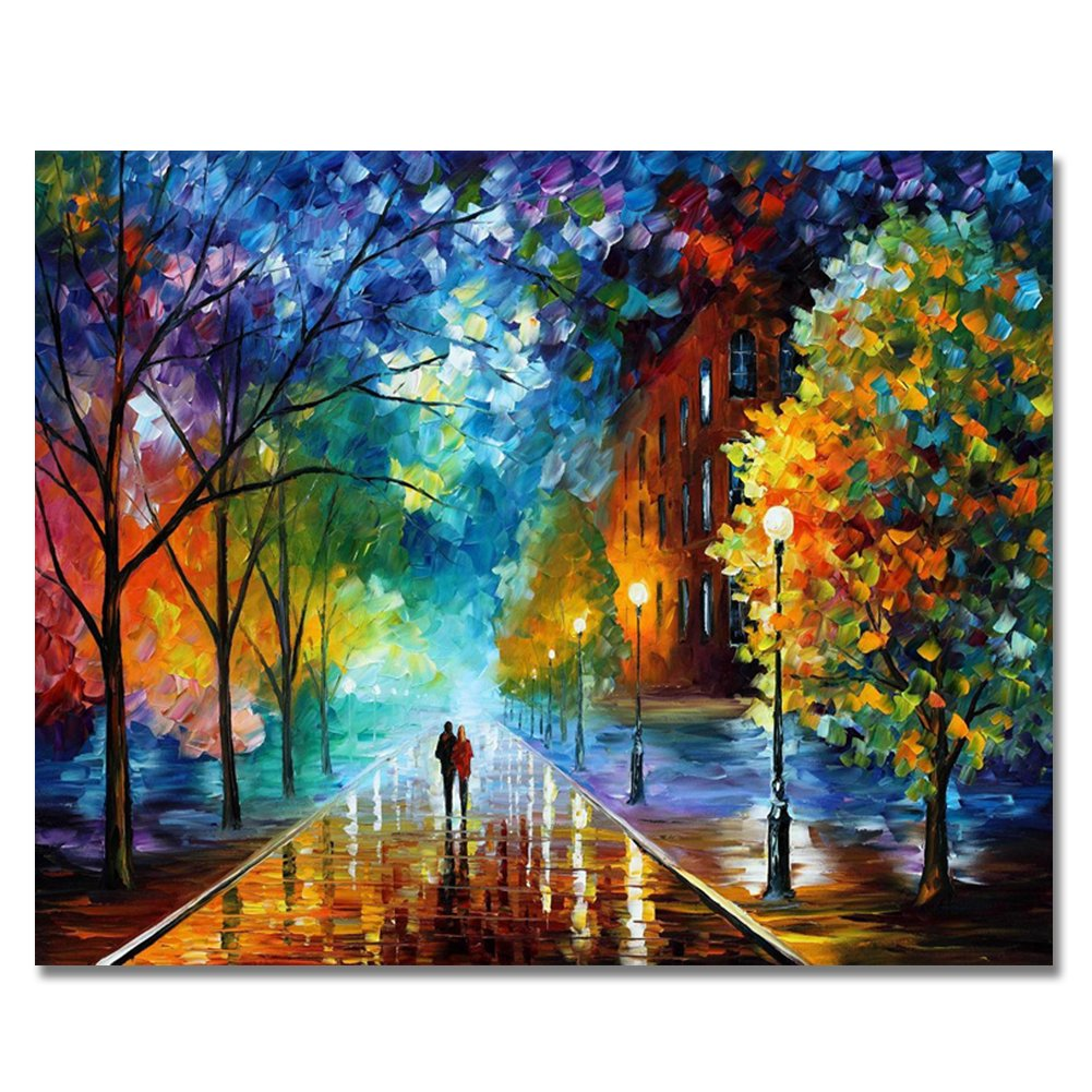 RIHE Paint by Numbers Kits Mounted on Wood Frame with Brushes and Paints for Adults Children Seniors Junior DIY Beginner Level Acrylics Painting Kits on Canvas-Romantic Street 16x20 Inch by RIHE