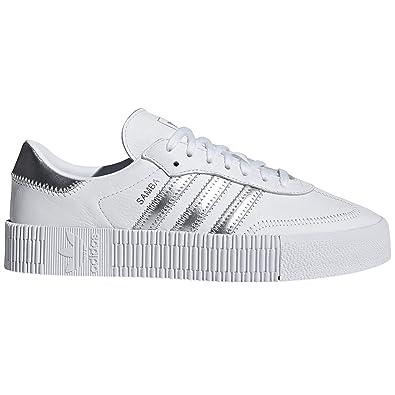 best website f6044 8867a adidas original Samba weiß und schwarz Hausschuhe für Frauen mit Plattform.  Sport Sneaker (36