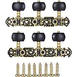 ammoon Alice AOS-020HV3P 2pcs (L & R) Acústica Clásicas Teclas de Ajuste de la Guitarra Cuerda Sintonizadores de las Clavijas 3 + 3 Cabezas de la Máquina (corto) Oro y Negro Plateado