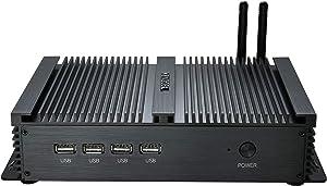 Kingdel Powerful Mini Desktop Computer, Fanless Industrial PC, Intel i5 Dual Core CPU, 4GB RAM, 128GB SSD, 2xNICs, 4xUSB 3.0, 4xCOM RS232, HD Port, Metal Case, Windows 10 Pro