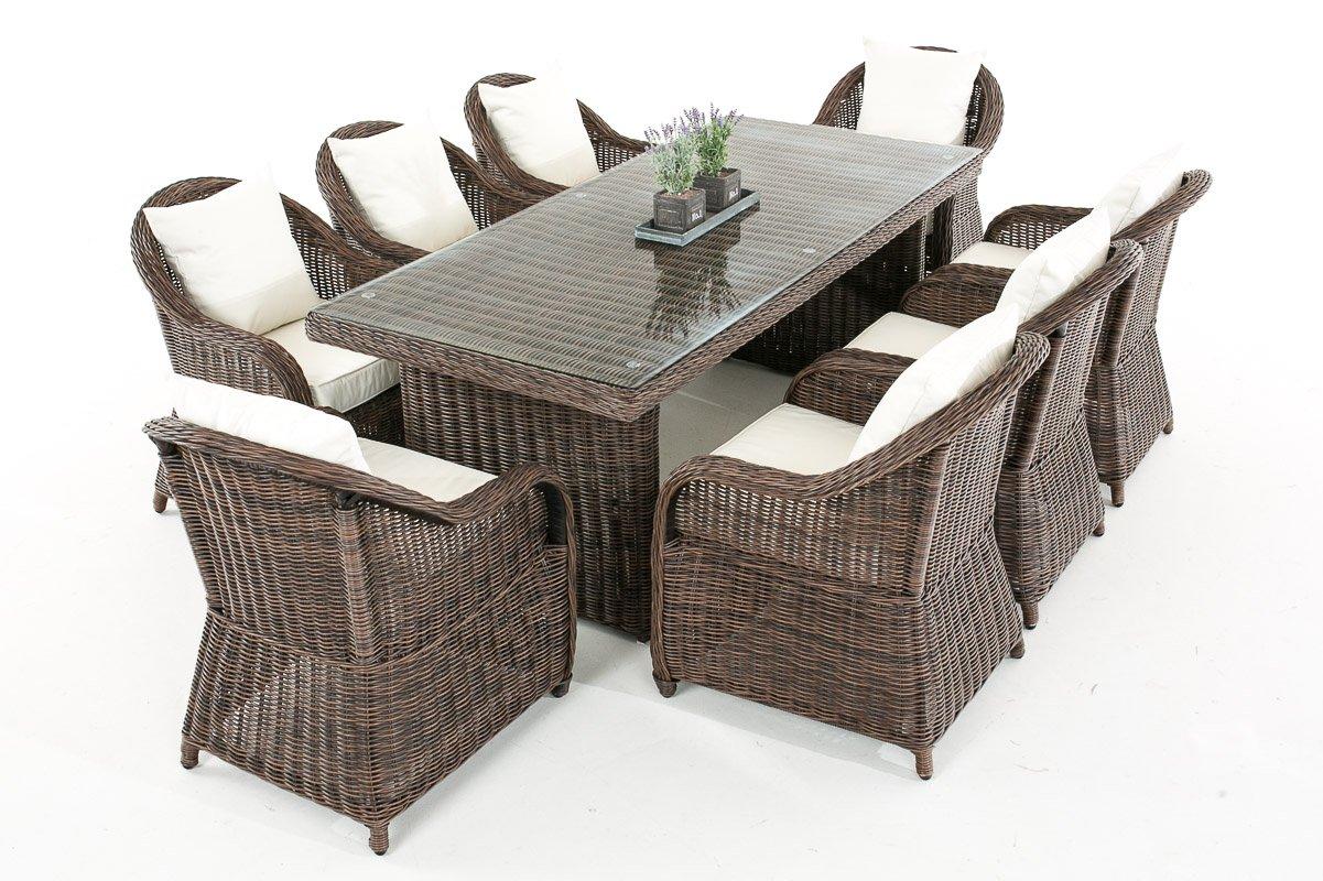 Mendler Garten-Garnitur CP071 XL, Sitzgruppe Lounge-Garnitur Poly-Rattan ~ Kissen cremeweiß, braun-meliert