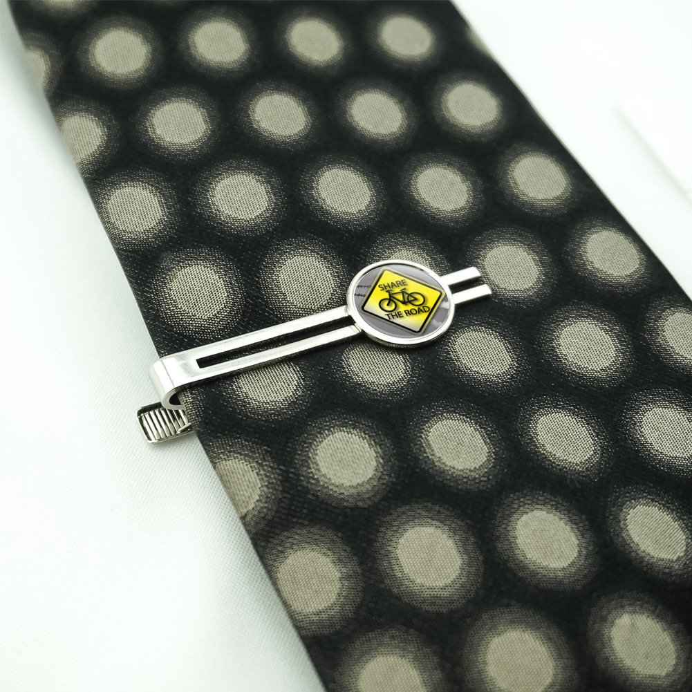 Share The Road Bicycle Stylized Yellow Grey Sign Mens Tie Clip Tack Bar