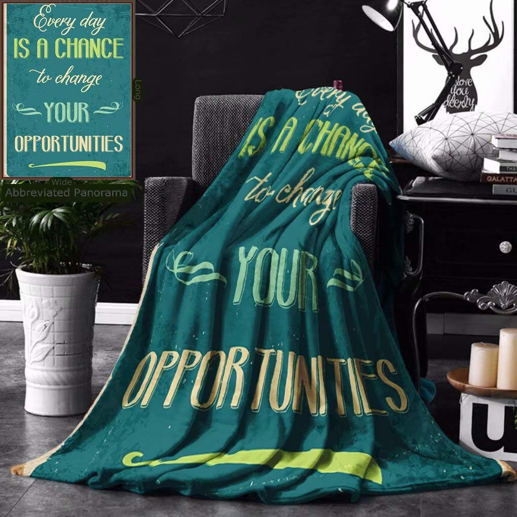 Unique Custom Double Sides Print Flannel Blankets Lifestyle Every Day Is A Chance To Change Your Opportunities Quote Retro Poster Print Super Soft Blanketry for Bed Couch, Twin Size 60 x 80 Inches