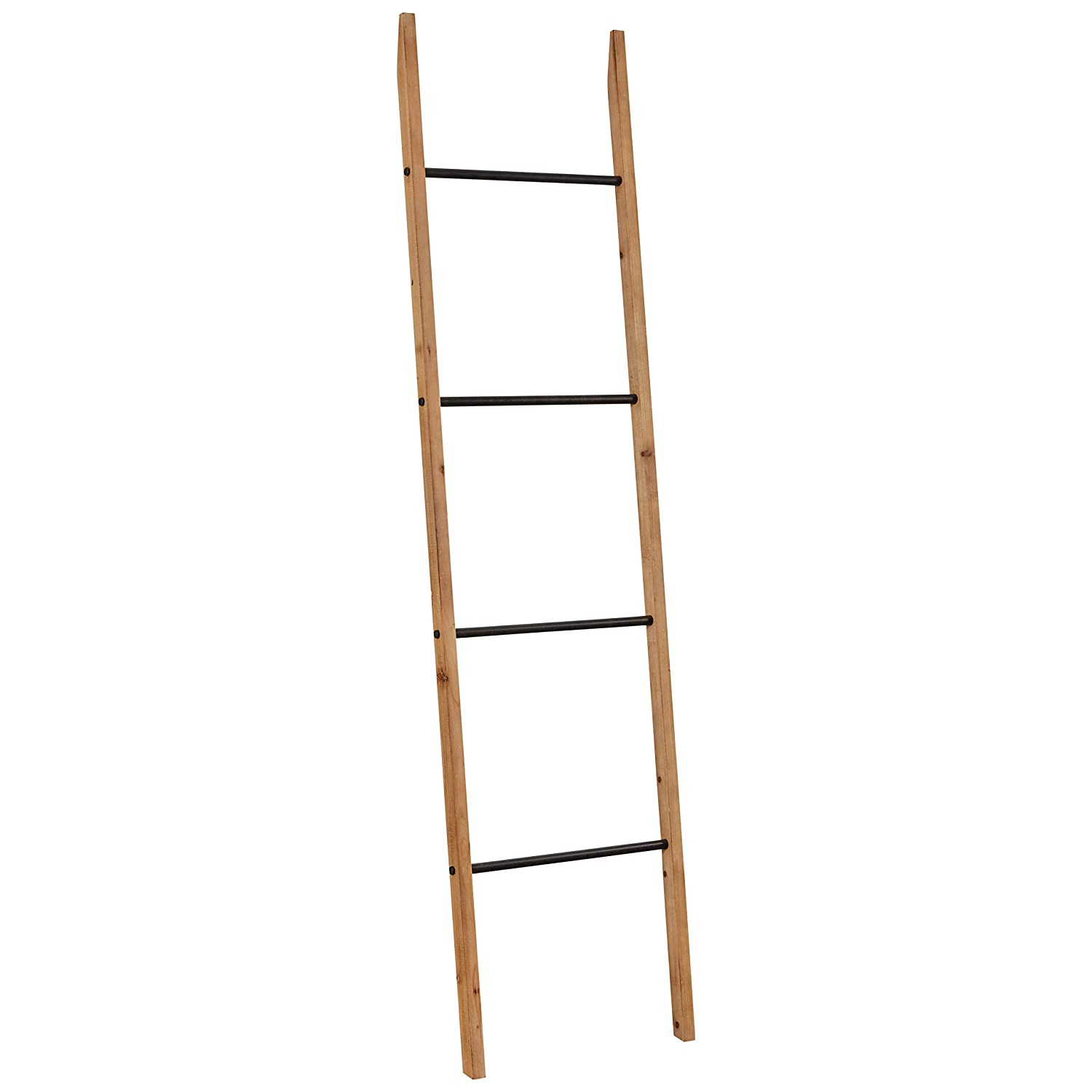 "Rivet Contemporary Fir Decorative Blanket Ladder with Iron Rungs - 71.65""H, Black and Natural Wood"