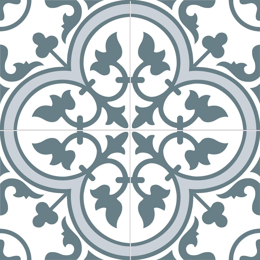 Ledbury Encaustic Patterned Marina Blue Ceramic Wall, Floor Tiles ...