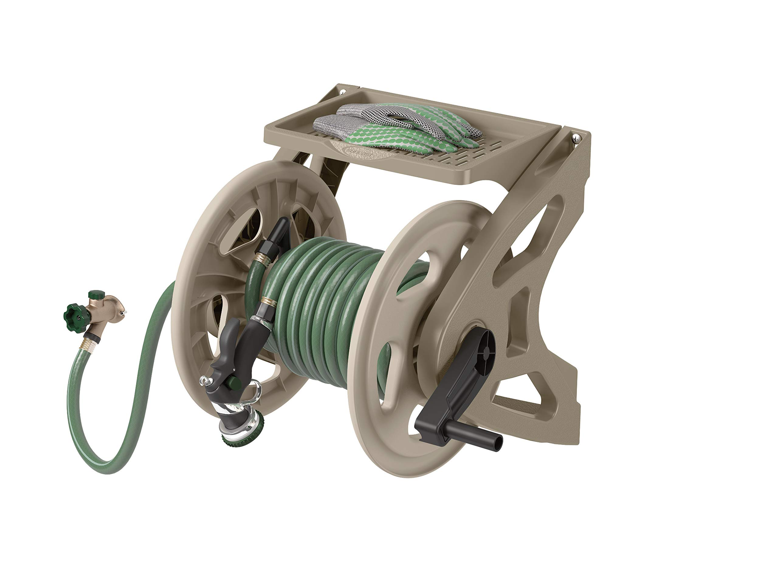 Suncast Resin Wall Mounted Handler Hose Real - Durable Outdoor Hose Reel with Crank Handle and Storage Tray - 200' Hose Capacity - Taupe by Suncast