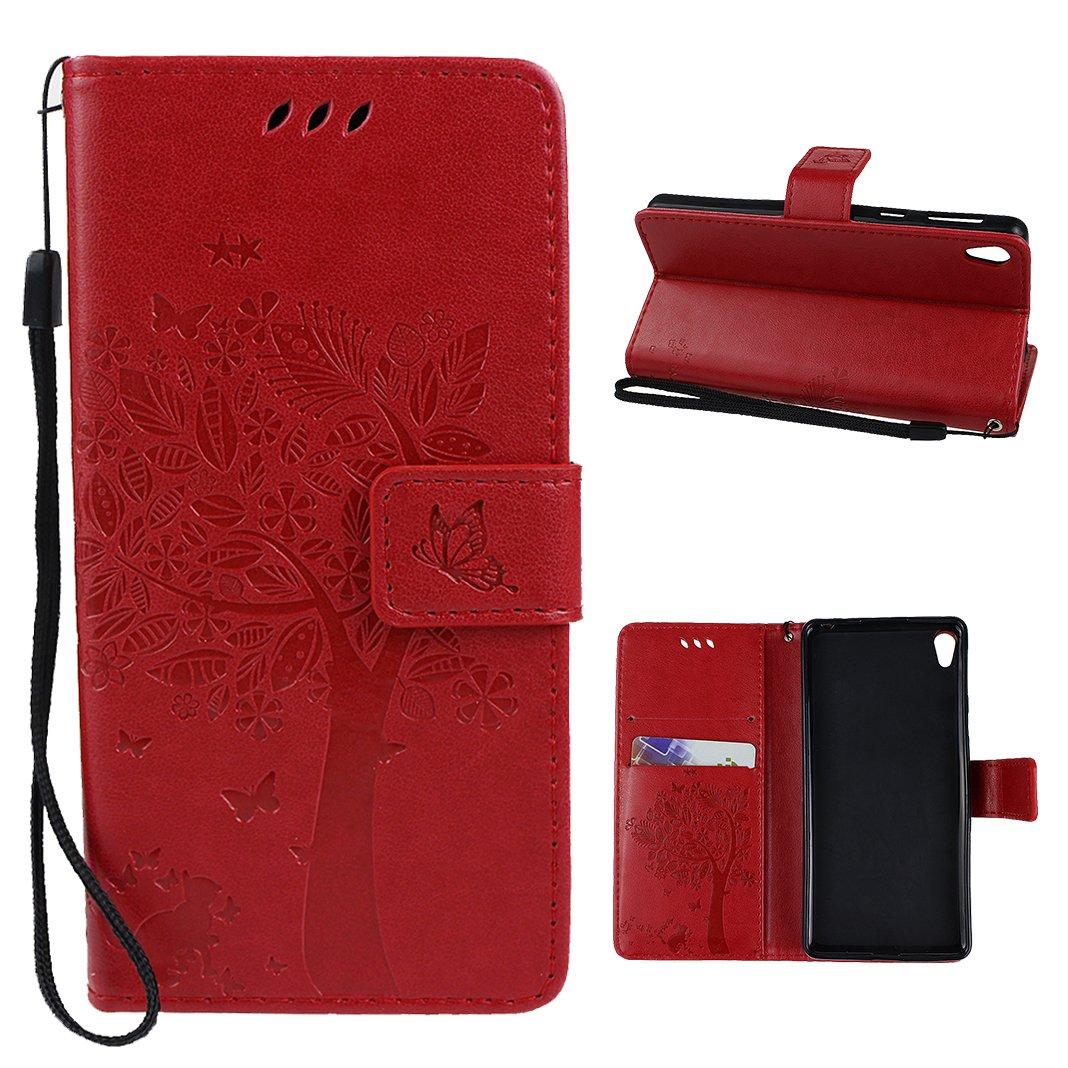 Sony Xperia E5 Funda, Sony Xperia E5 Carcasa, HuaForCity PU Cuero TPU Inner Case Cover Magnético Cierre Billetera Tarjeta Ranura Sony Xperia E5 Funda ...