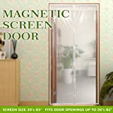 """Transparent Magnetic Screen Door Curtain Prevent Air Conditioning Loss Help Saving Electricity & Money,Enjoy Cool Summer & Warm Winter,Thermal and Insulated Auto Closer Door Curtain Fits Door 36""""×82"""""""