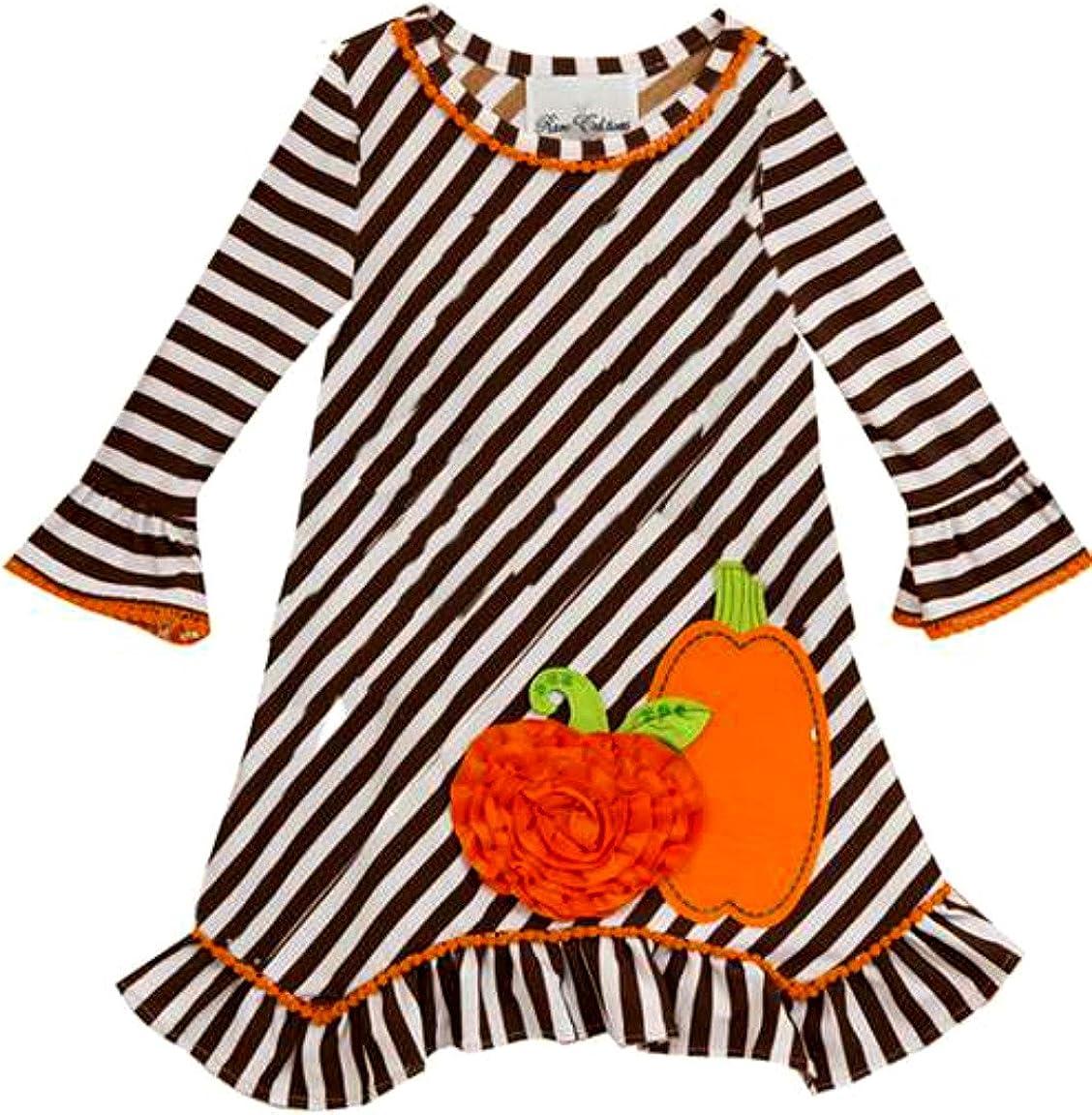 Girls Brown Stripe Pumpkin Fall Thanksgiving Dress