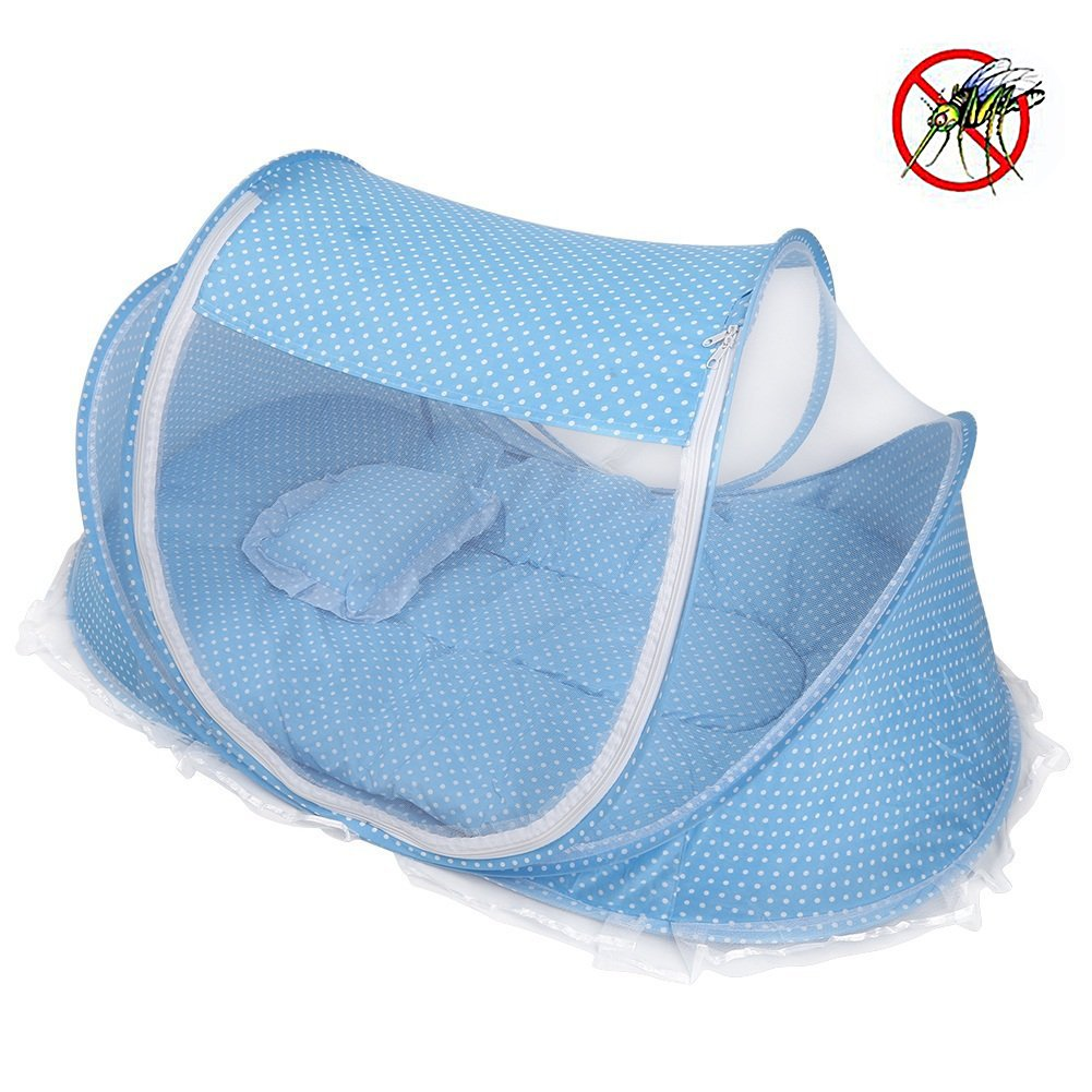 Yosoo Foldable Baby Infant Pop-up Crib Cradle Anti-Bug Tent Mosquito Net with Mattress Pillow Portable Nursery Bed Crib Canopy Travel Beach Park Play Shades, Blue