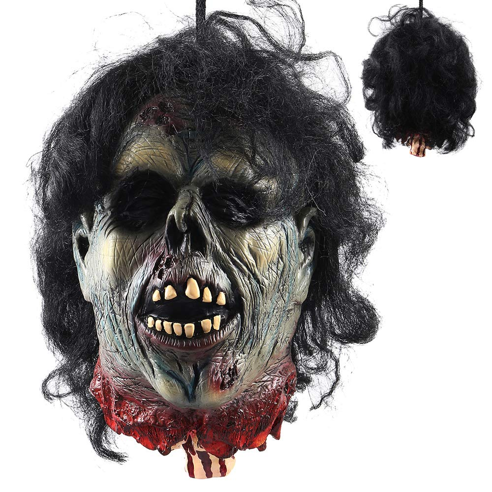 ODOMY Halloween Severed Head Props Hanging Scary Bloody Cut Off Head Latex Zombie Halloween Decorations (Style 1) by ODOMY