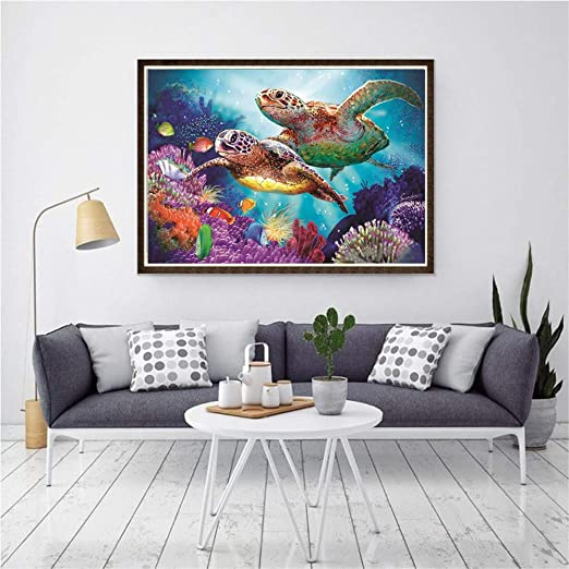 DIY Diamond Painting Full Drill 5D Kits Sea Turtle DIY Crystals Diamond Rhinestone Painting Pasted Paint by Number Kits Cross Stitch Embroidery 11.8X15.8Inch