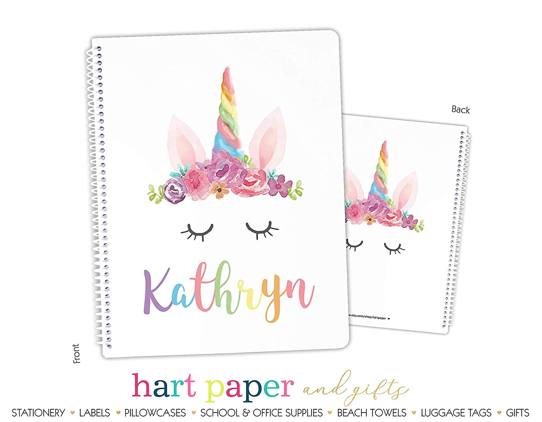 Personalized Rainbow Unicorn Spiral Bound Notebook Sketchbook